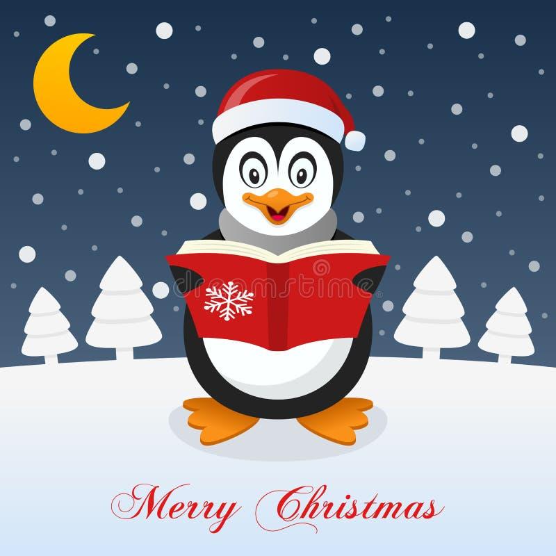 Et ainsi c'est Noël - pingouin heureux illustration de vecteur