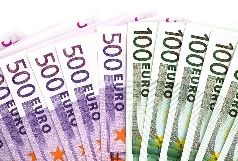 500 et 100 billets de banque d'euros photo libre de droits