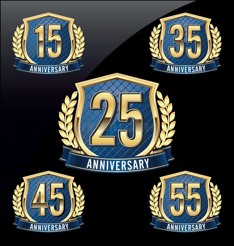 Or et bleu 15ème, 25ème, trente-cinquième, quarante-cinquième, cinquante-cinquième années d'insigne d'anniversaire illustration de vecteur