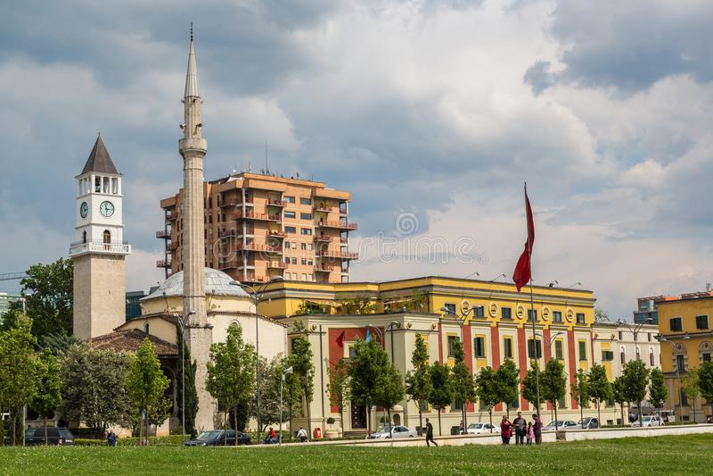 Et& x27; boord Bey Mosque in Tirana royalty-vrije stock foto's