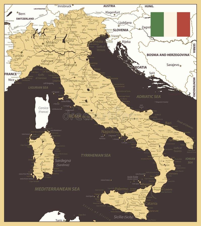 Or et Brown de carte de l'Italie illustration de vecteur