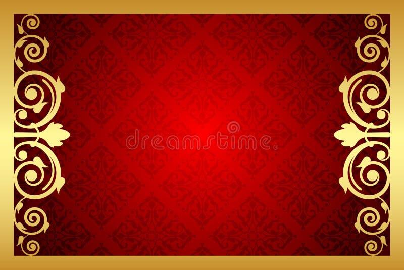 Or et cadre royal rouge illustration libre de droits