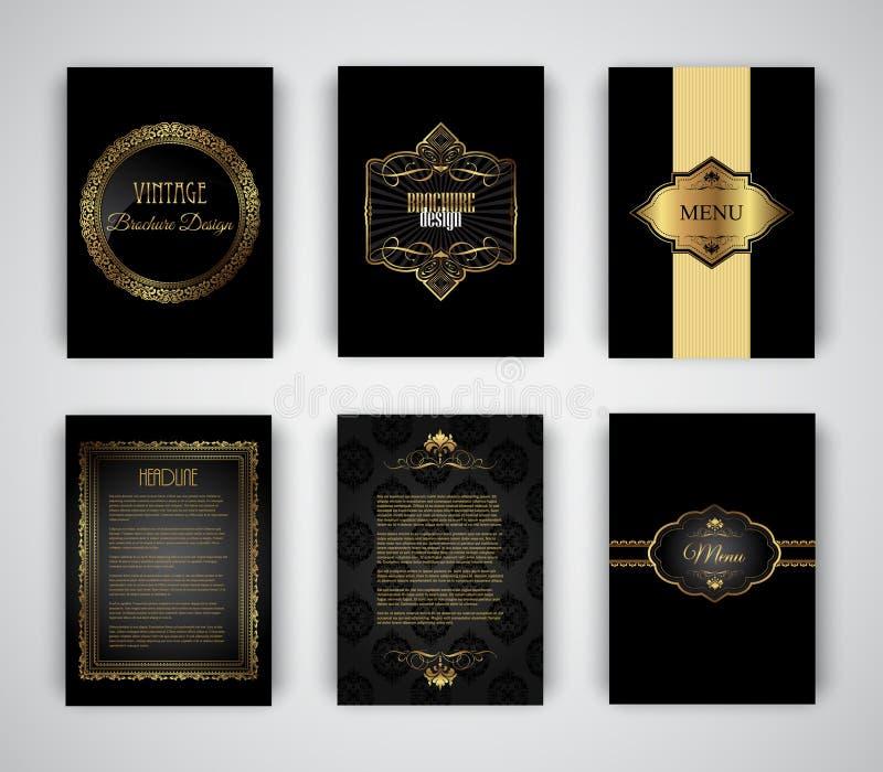 Or et calibres noirs de brochure et de menu illustration libre de droits