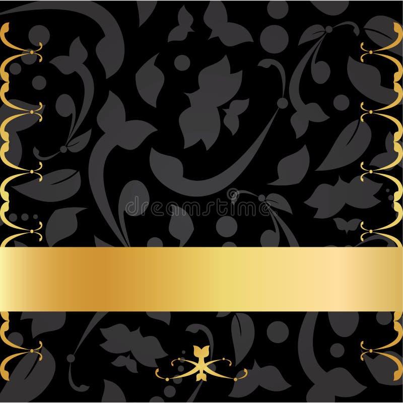 Or et carte décorative de fond de noir illustration de vecteur