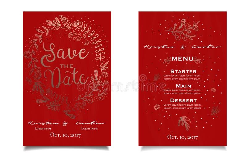 Or et carte rouge d'invitain avec l'impression florale Liste de menu photos stock