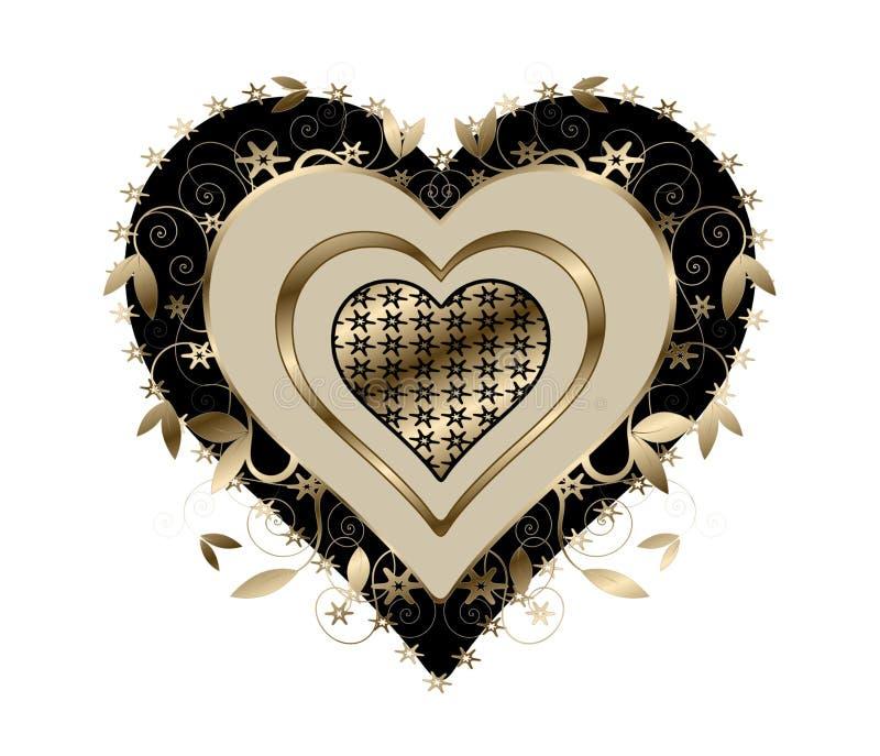 Or et coeur de remous de noir illustration de vecteur