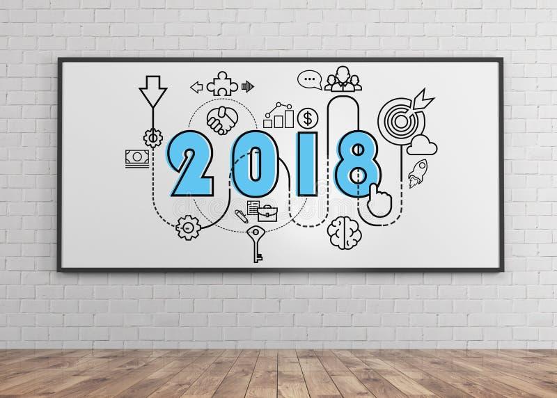 2018 et commencent le croquis sur le tableau blanc de bureau illustration libre de droits