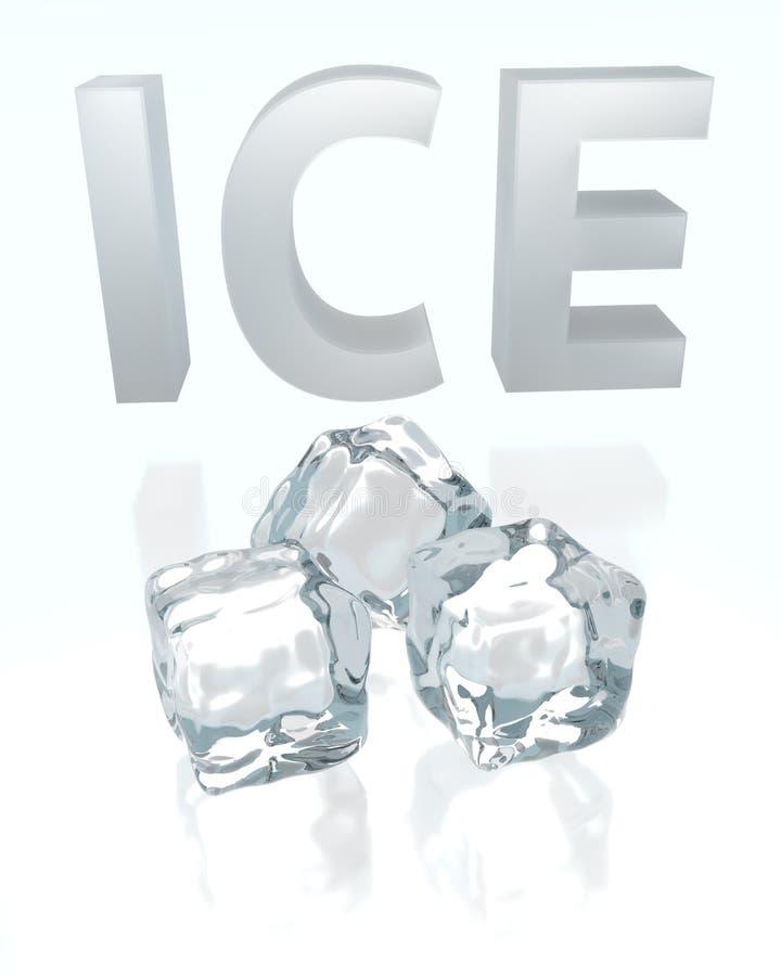 ` Et cubes de glace de ` des textes 3d illustration libre de droits