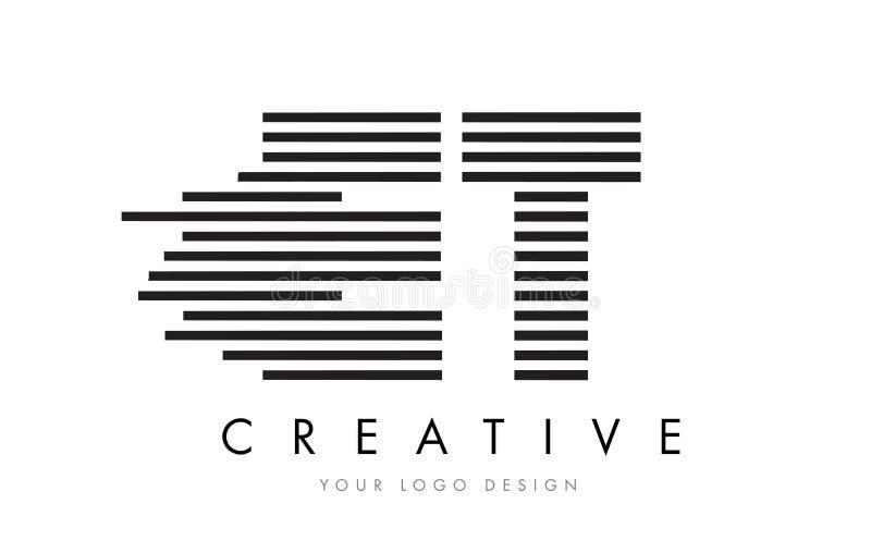 ET E T Zebra Letter Logo Design with Black and White Stripes stock illustration