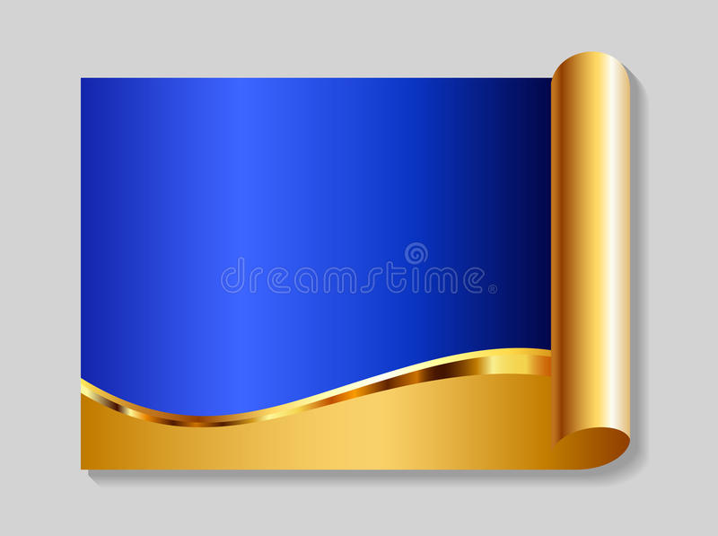 Or et fond abstrait bleu illustration de vecteur