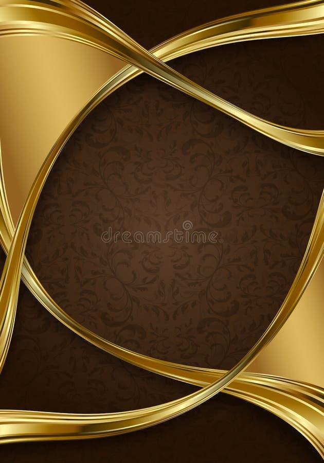 Or et fond floral abstrait de brun