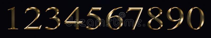 Et i numeri 0, 1, 2, 3, 4, 5, 6, 7, 8, 9 per la celebrazione del nuovo anno di anniversario firma la struttura scintillante dell' immagine stock