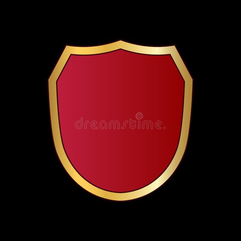 Or et icône rouge de forme de bouclier Signe métallique d'emblème de logo d'isolement sur le fond noir Symbole de bouclier de for illustration de vecteur