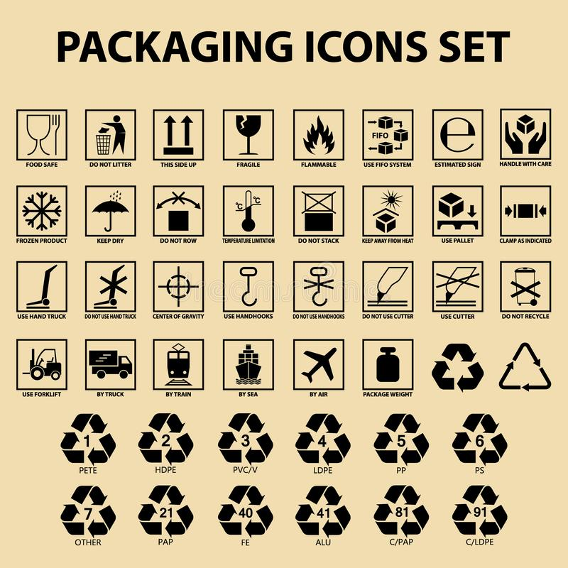 Et of packaging icons, packing cargo labels, delivery service symbols stock illustration