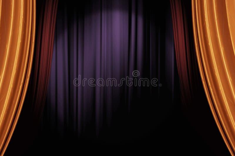 Or et rideaux rouges en étape dans le théâtre foncé pour un fond vivant de représentation image stock