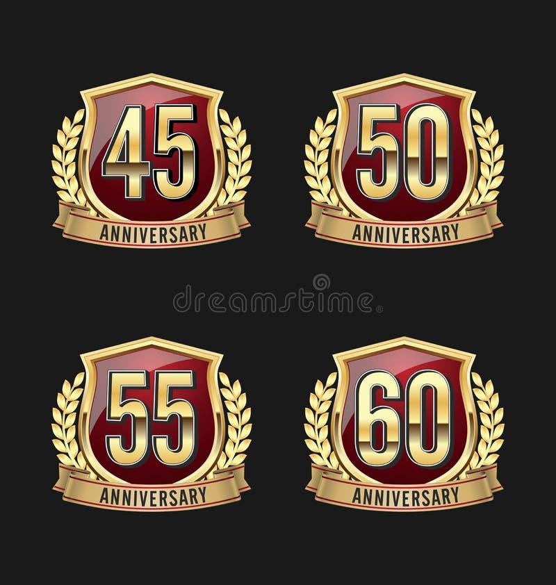 Or et rouge quarante-cinquième, cinquantième, cinquante-cinquième, soixantième années d'insigne d'anniversaire illustration stock