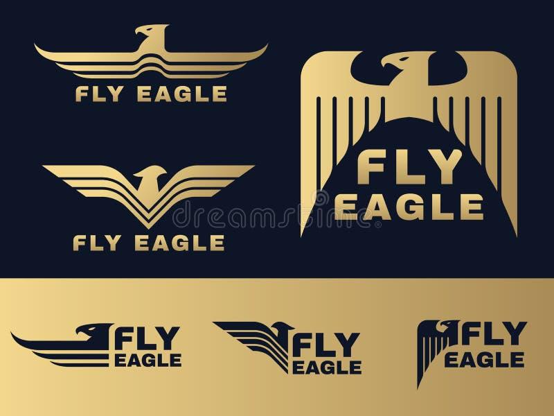 Or et scénographie bleu-foncé de vecteur de logo d'Eagle illustration stock