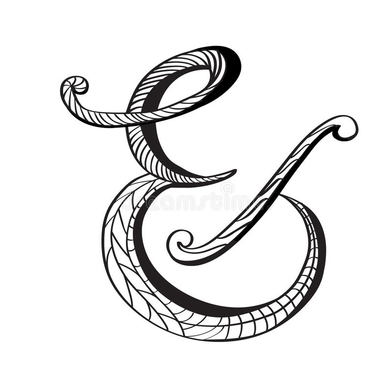 Et-tecken i hand dragen stil stock illustrationer
