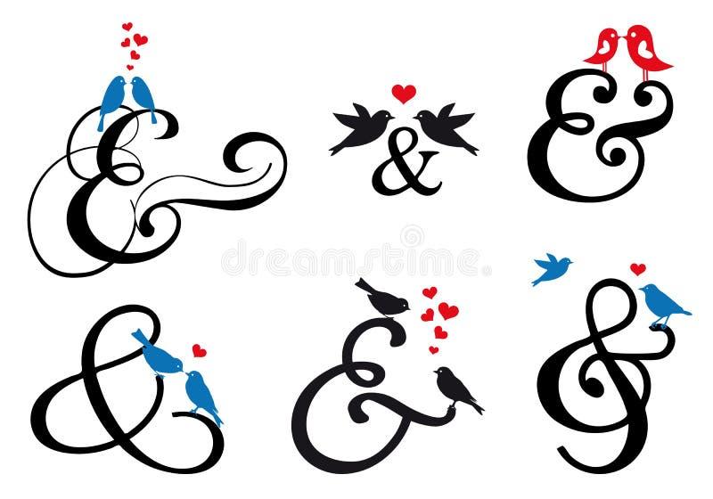 Et-teckentecken med fåglar, vektoruppsättning vektor illustrationer