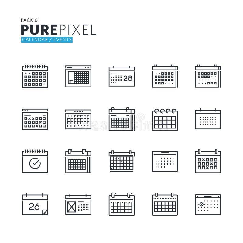 Et van de moderne dunne perfecte pictogrammen van het lijnpixel stock illustratie