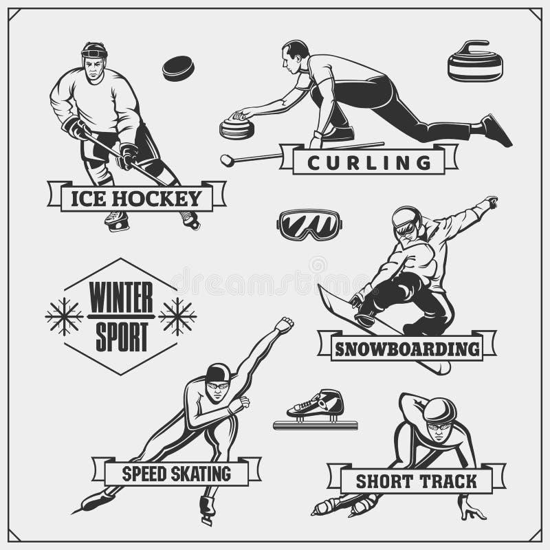 Et van wintersportenemblemen Krullen, ijshockey die, het snowboarding, snelheid, kort spoor schaatsen royalty-vrije illustratie