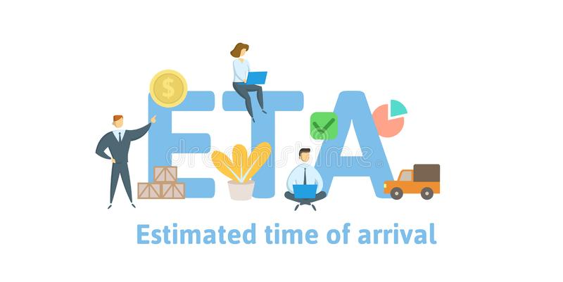 ETA, Estimated Time of Arrival. Concept with keywords, letters and icons. Flat vector illustration. Isolated on white. ETA, Estimated Time of Arrival. Concept royalty free illustration