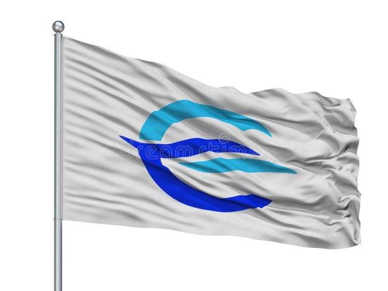 Etajima City Flag On Flagpole, Japan, Hiroshima Prefecture, Isolated On White Background. Etajima City Flag On Flagpole, Country Japan, Hiroshima Prefecture vector illustration