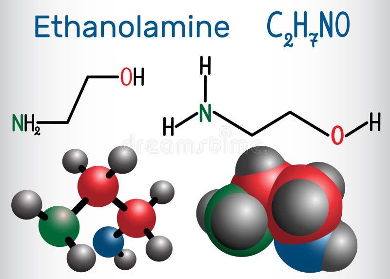 Etanolamina ETA lub MEA molekuła Ja jest początkowym aminą i ilustracja wektor