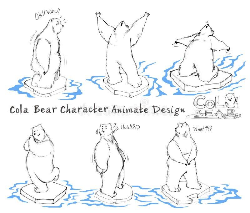 Etapa animada ativa do projeto de personagem de banda desenhada do urso da cola ilustração royalty free