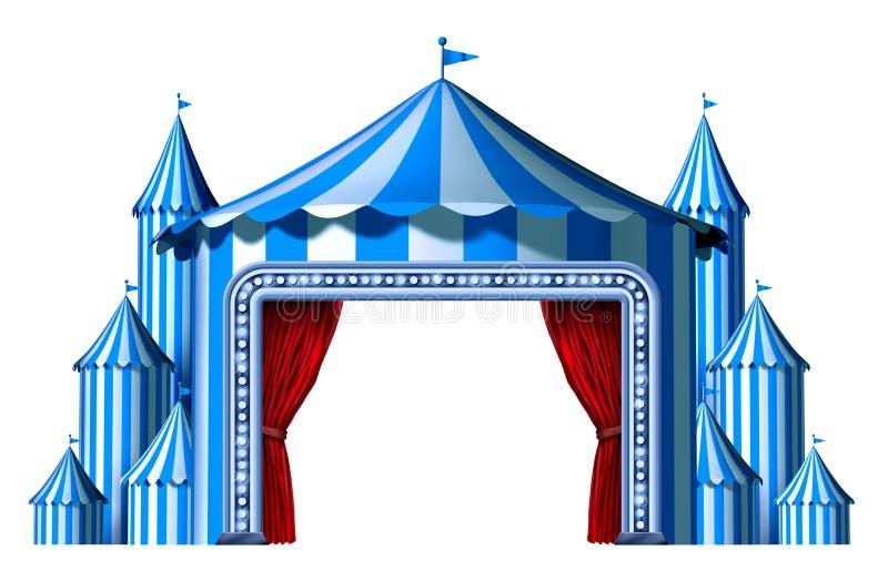Etapa azul de la tienda del circo stock de ilustración