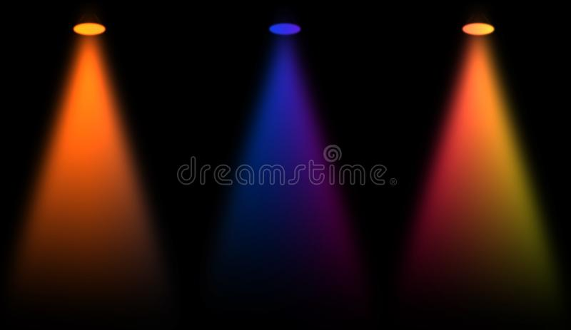 Etapa colorida Proyectores en fondo negro aislado ilustración del vector