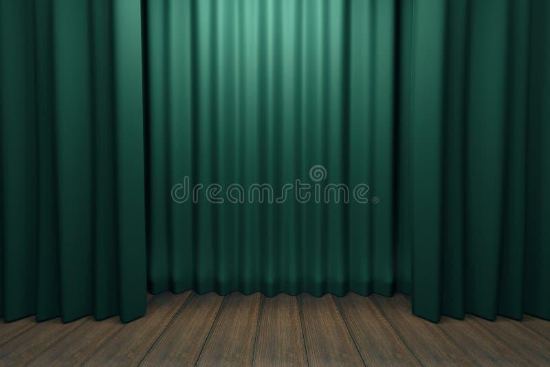 Etapa con escenas verdes y el piso de madera imagenes de archivo