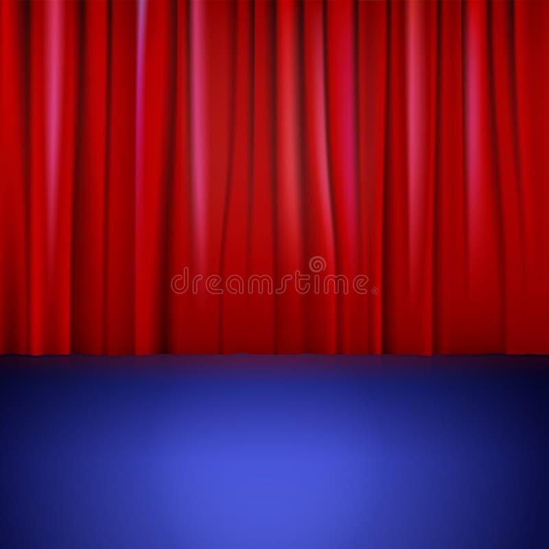 Etapa con la cortina roja. stock de ilustración