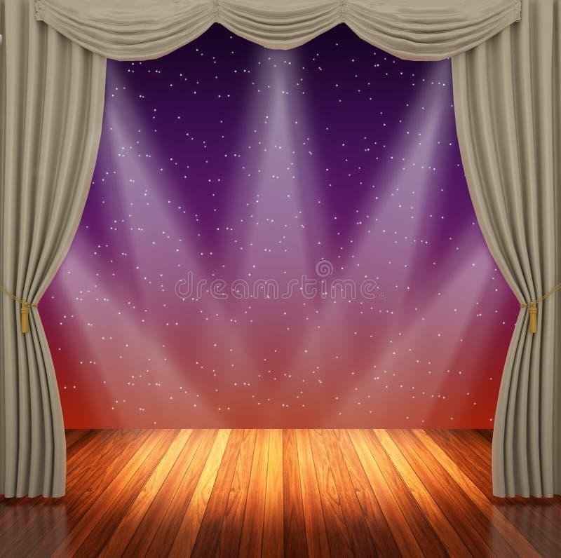 Etapa con las cortinas y el proyector marrones claros stock de ilustración