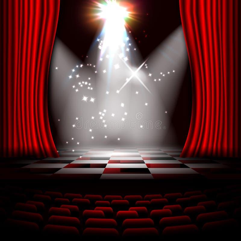 etapa 3D con las cortinas rojas Escena de la noche stock de ilustración