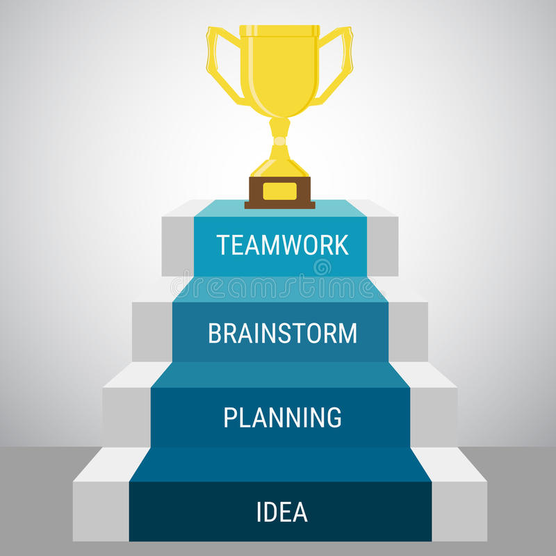 A etapa da escada vai ao troféu e ao sucesso Esfera 3d diferente ilustração do vetor
