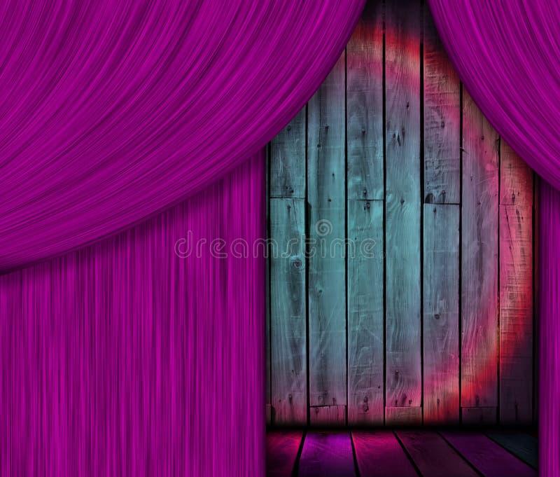 Etapa de madera detrás de la cortina púrpura fotografía de archivo libre de regalías