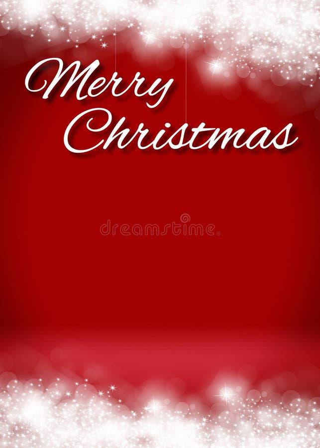 Etapa del fondo de la tarjeta de la Feliz Navidad 3D Nevado fotos de archivo libres de regalías