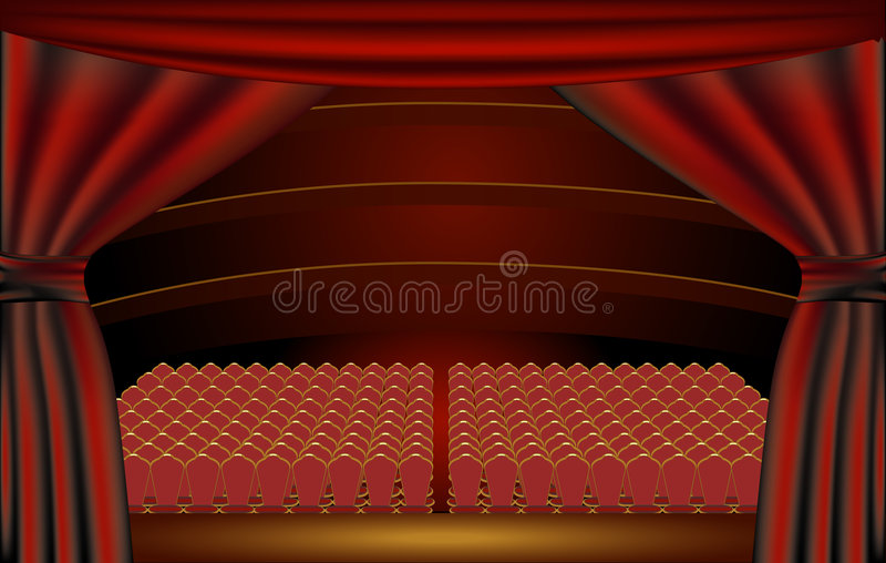 Etapa del teatro, audiencia stock de ilustración