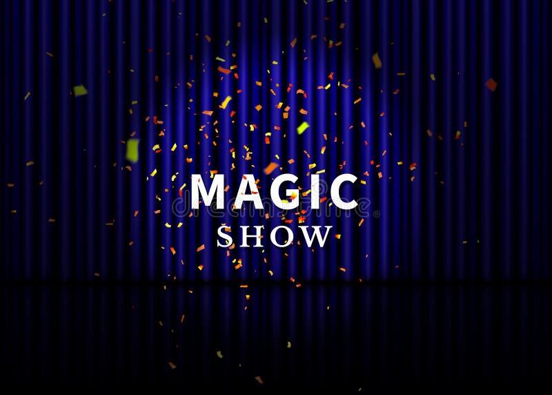 Etapa del teatro con la cortina, el proyector, la reflexión y el confeti azules Cartel mágico de la demostración Vector stock de ilustración