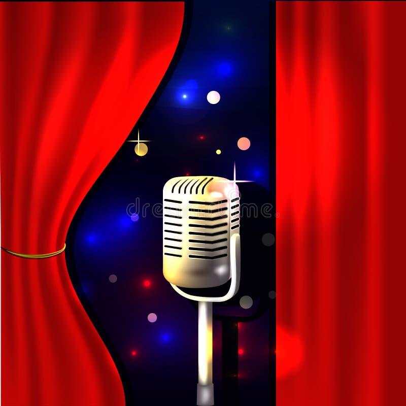 Etapa del teatro con la cortina y el micrófono rojos libre illustration