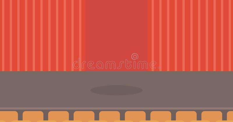 Etapa del teatro con las cortinas, los asientos y el proyector stock de ilustración