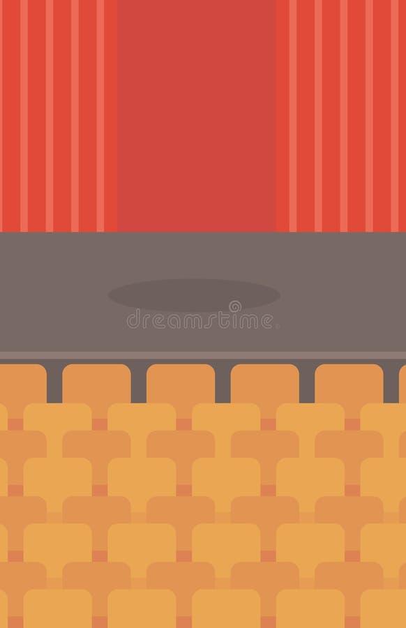 Etapa del teatro con las cortinas, los asientos y el proyector ilustración del vector