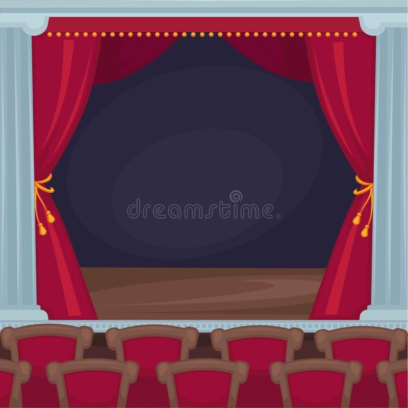 Etapa del teatro con las cortinas rojas del terciopelo y el sitio espectador stock de ilustración