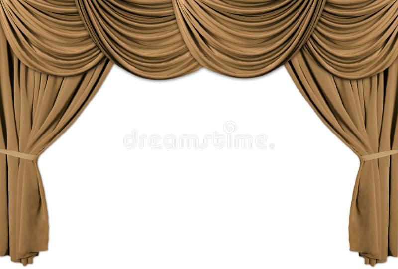 Etapa del teatro del oro cubierta con las cortinas ilustración del vector