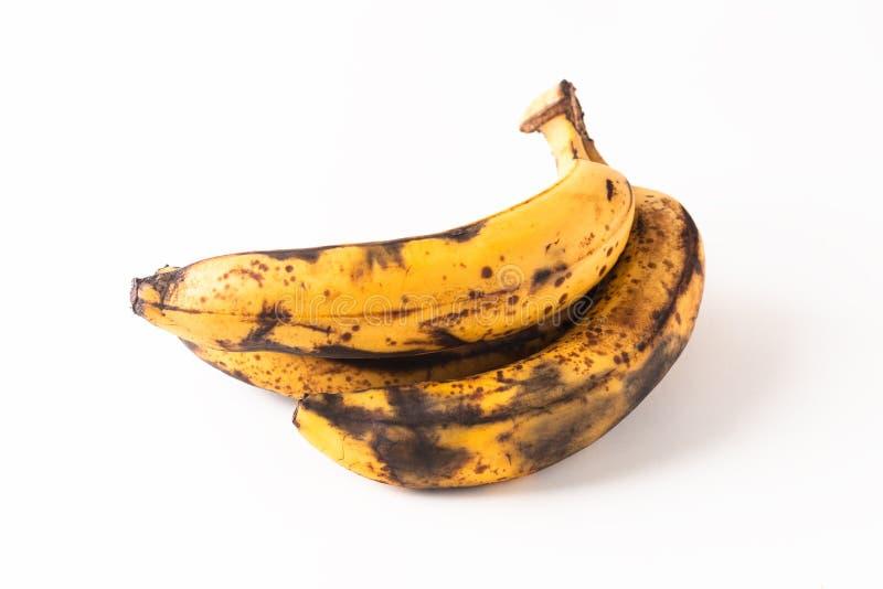 Etapa demasiado madura del concepto de la comida de plátanos en el fondo blanco imagen de archivo libre de regalías