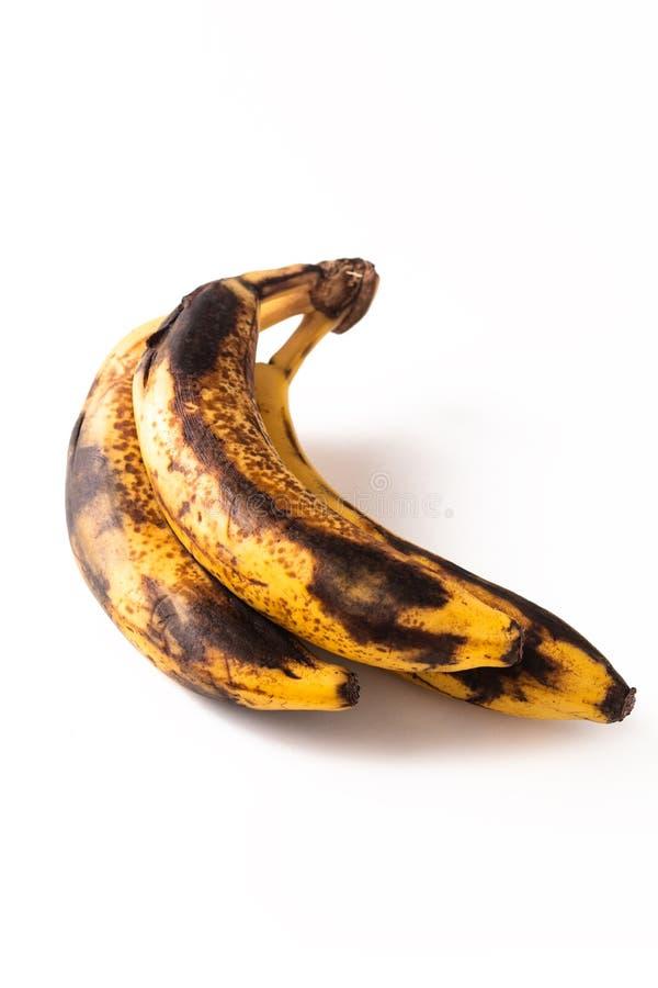 Etapa demasiado madura del concepto de la comida de plátanos en el fondo blanco fotografía de archivo libre de regalías