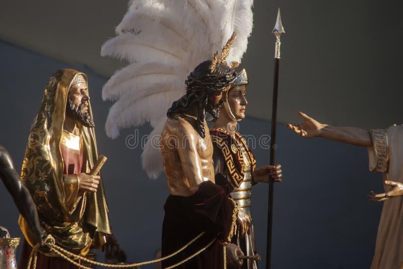 Etapa do mistério da fraternidade de St Benedict, a Semana Santa em Sevilha fotos de stock