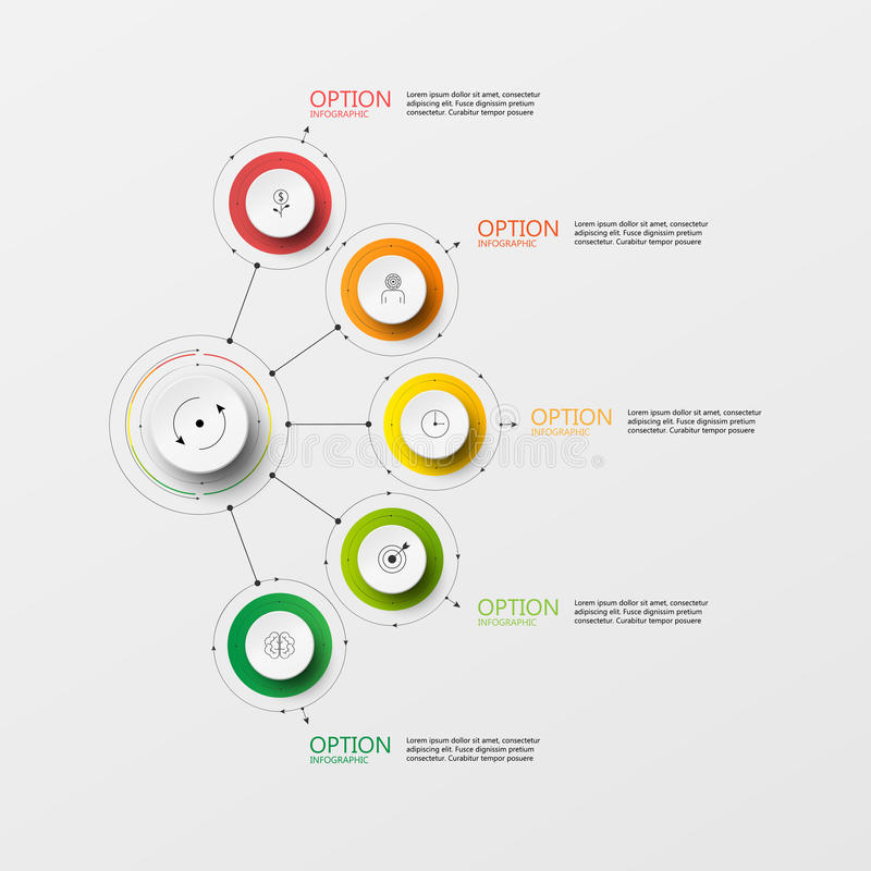 Etapa do papel do círculo do Informação-gráfico do vetor ilustração do vetor