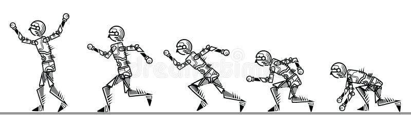 Etapa do robô do Humanoid que corre no fundo branco ilustração stock